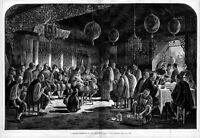 CHINESE RECEPTION IN SAN FRANCISCO 1877 RESTAURANT ORCHESTRA MUSICIAN LANTERNS