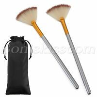 2pcs Professional Blush Powder Sector Fan Soft Makeup Brush Cosmetic Beauty Tool