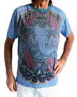 INDIEN Dieu Ganesh 100% coton manches courtes T-shirt, bleu, taille M, Weed