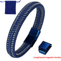 Men Blue Braided Leather Stainless Steel Magnetic Clasp Size Adjustable Bracelet