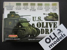 US Olive Drab AFV Acrylic Paint Set 6x20ml - LIFECOLOR CS11