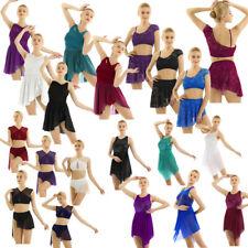 Women Girl Lyrical Mesh Ballet Dress Contemporary Ballroom Dancewear Gym Leotard