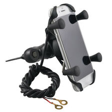 Universal Motorcycle Mobile Phone Mirror Stem Mount Holder USB Charger 3.5-6""