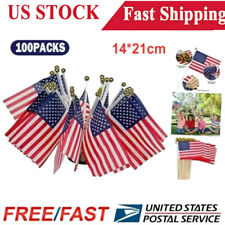 New listing 100 Pack Small American Flags Small Us Flags/Mini American Flag on Stick 5x8 In