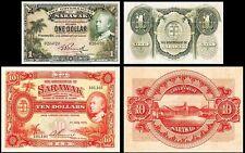 !COPY! SARAWAK 1$ 1935 & 10$ 1929 BANKNOTES !NOT REAL!