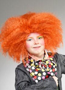 Kids Size Mad Hatter Style Orange Frizzy Wig