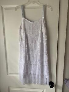 1920s Fringe Flapper Dress White Size M
