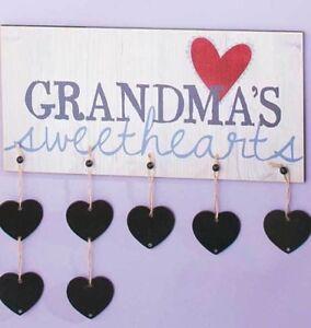 Grandma's Sweethearts Rustic Wall Plaque 7 Chalkboard Name Tags Slate Hearts NIB