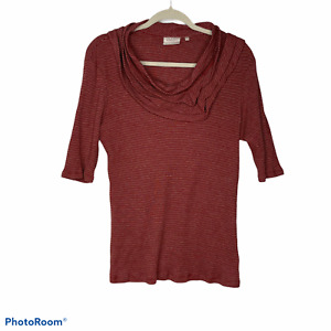 Deletta Polyester Blouse Women's 3/4 sleeve cowl neck Red size XL