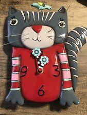 Allen Designs Cat Clock Wall Gray Red Pink Sweater Blue Bird