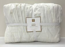NEW Pottery Barn TEEN Gemma Ruched FULL/QUEEN Quilt~IVORY