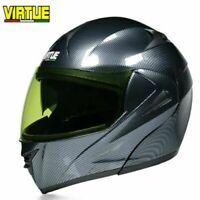 DOT Motorcycle Helmet w/Bluetooth Flip Up Modular Helmet Full Face Dual Visor L