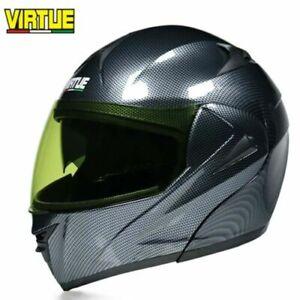 DOT Motorcycle Helmet w/Bluetooth Flip Up Modular Helmet Full Face Dual Visor L