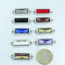 3 Abalorios Para Pulsera 34x12mm T460A Plata Tibetana Bracelet Con Cristales