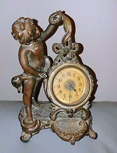 "Bronze Winding Clock New Haven Cherub Rococo Victorian Style approx 7""H"