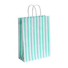 200 X Verde/Bianco Candystripe regalo sacchetti di carta - 18cmx22cmx8cm-Borsa Regalo