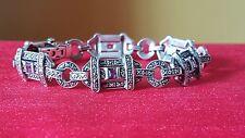 """Vintage sterling silver amethyst marcasite bracelet. Signed ACi. 7.5"""""""