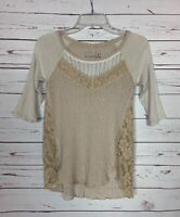 Free People We The Free Women's XS Extra Small Beige Lace Spring Cute Top Shirt