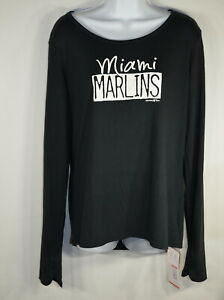 Under Armour Women's Top XL Semi-fitted Miami Marlins Long Sleeve Black NWT