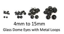 More details for glass dome eyes with metal loops - teddy bear making doll animal craft soft toys