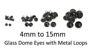 GLASS DOME Eyes with Metal Loops - Teddy Bear Making Doll Animal Craft Soft Toys