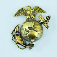 WWII Marine Corps Eagle Globe Anchor Brooch Pin Sterling 1/20 Gold EGA by H&H