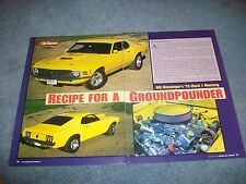 "1970 Ford Mustang Mach 1 RestoRod Article ""Recipe for a Ground Pounder"""