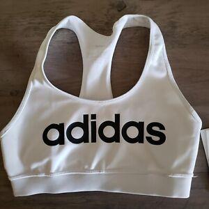 Adidas Womens White & Black Sports Bra (Small & x-Large) DU1866 NEW