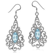 4.1ct. Genuine Blue Topaz 925 Sterling Silver Victorian Swirl Dangle Earrings