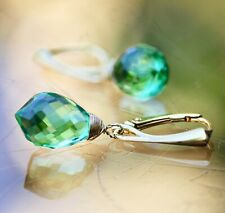Seafoam Green Tourmaline Earrings Yellow Gold Vermeil , October Birthstone