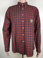 Tommy Hilfiger Mens Shirt Sz XL Red Plaid Patch All American Crest L/S Button