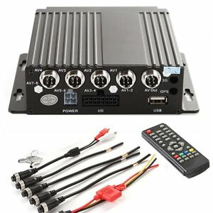 4CH Car Vehicle Truck AHD Mobile DVR Realtime Video/Audio SD Card Recorder 12V