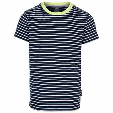Trespass Boys Tshirt Round Neck Striped Top Quickdry Wicking Direction