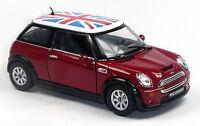 Mini Cooper S Sammlermodell 1:28 rot mit britischer Flagge Union Jack KINSMART