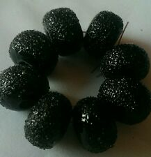 8 BLACK WITH FROSTED FRIT LAMPWORK BEADS  SRA