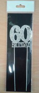 60th Birthday Diamante Cake Topper Decoration (6cm) Pk 1