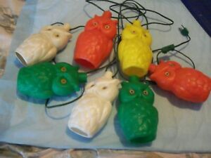 7 Vintage OWL Lantern Blow Mold Plastic String Lights Camping RV Patio - Lot 10