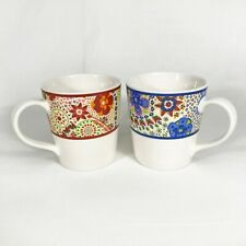 2 Starbucks 2007 Kaleidoscope Paisley Floral Mugs Red & Blue 11 oz Coffee Tea