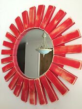 Bright Red Handmade Modern Distressed Wood Round Mirror 22""