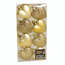 Weihnachtsdekoration 8-pack 50mm Glitzer / Uni Hearts - Gold