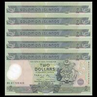 Lot 5 PCS, Solomon Islands 2 Dollars, ND(2001), P-23, Polymer, UNC>COMM.