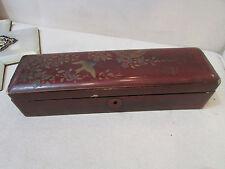 ancienne grande boite coffret a gants en laque chine japon decor floral oiseau