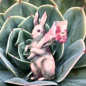 Rabbit wood brooch Retro flower bunny lapel pin Animal badge jewellery accessory
