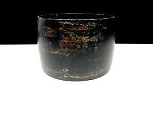 Black Wide Wood Bangle Bracelet