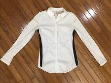 Bailey 44 Women's White Button Down Shirt Blouse Top Leather Faux Trim Size S