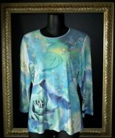 CHRISTOPHER & BANKS FLORAL IN BLUES POLY BLEND BLOUSE   SIZE SMALL   EXCELLENT