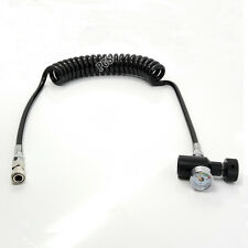 Paintball Coil Remote Hose Line w/Quick Disconnect & 3000psi Gauge