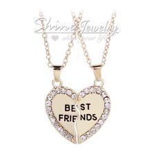 Best Friend Heart Gold Pendant Necklace Friendship made with SWAROVSKI crystal