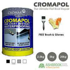 Cromapol Acrylic Roof Coat | Roof Paint | Roof Sealant | Brush & Gloves | 5kg