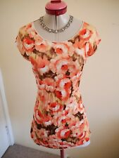 CAROLINE MORGAN White Peach TOP Size 8 BNWT NEW Floral Stretch Brown